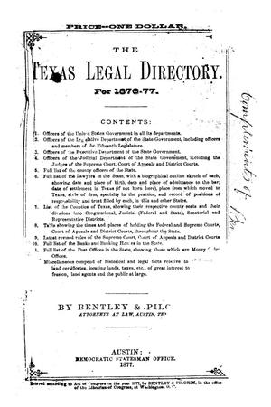 Primary view of object titled 'Texas Legal Directory For 1876-77'.