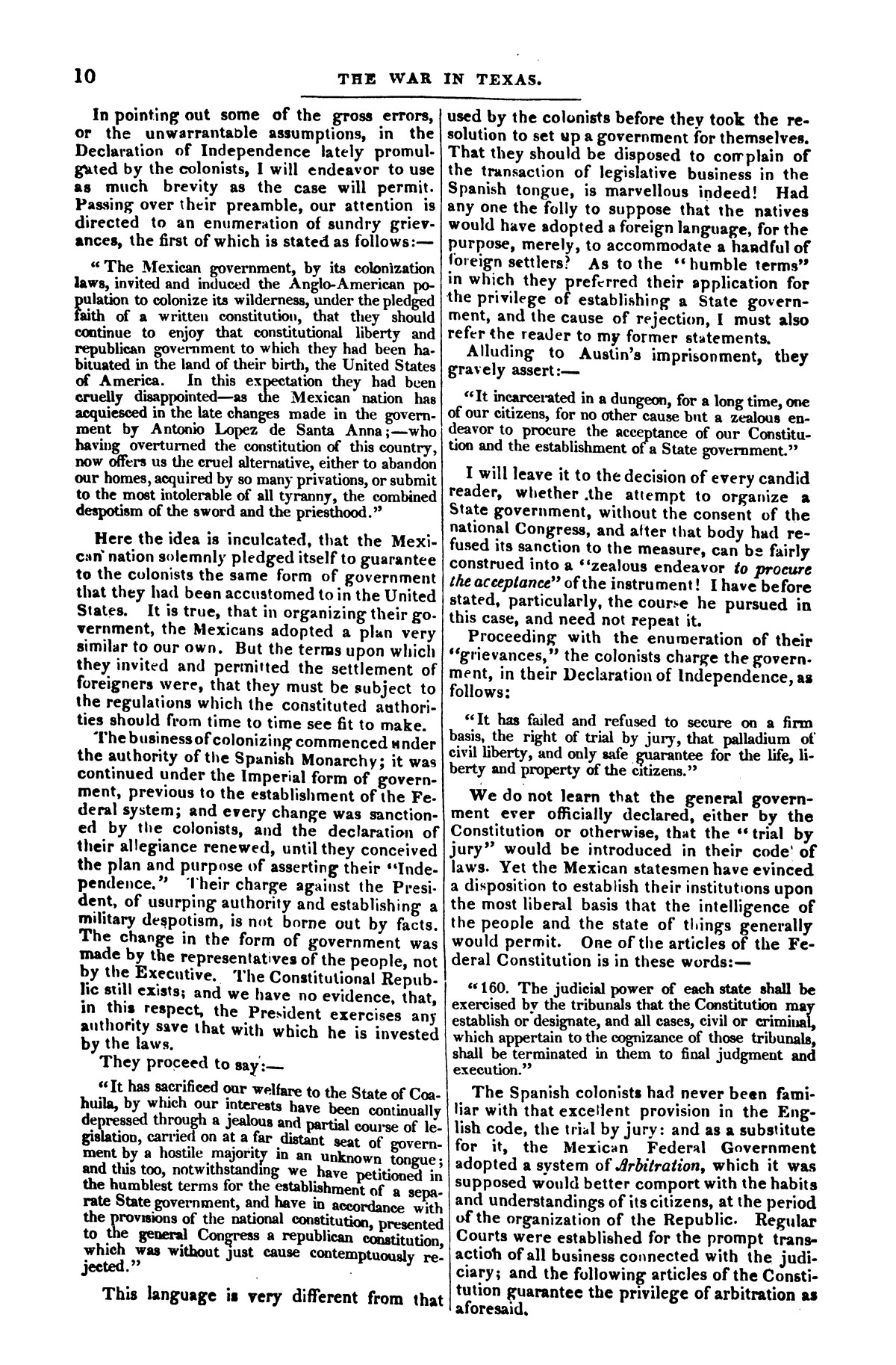 The war in Texas; a review of facts and circumstances, showing that this contest is a crusade against Mexico, set on foot by slaveholders, land speculators, & c. in order to re-establish, extend, and perpetuate the system of slavery and the slave trade.                                                                                                      [Sequence #]: 10 of 64
