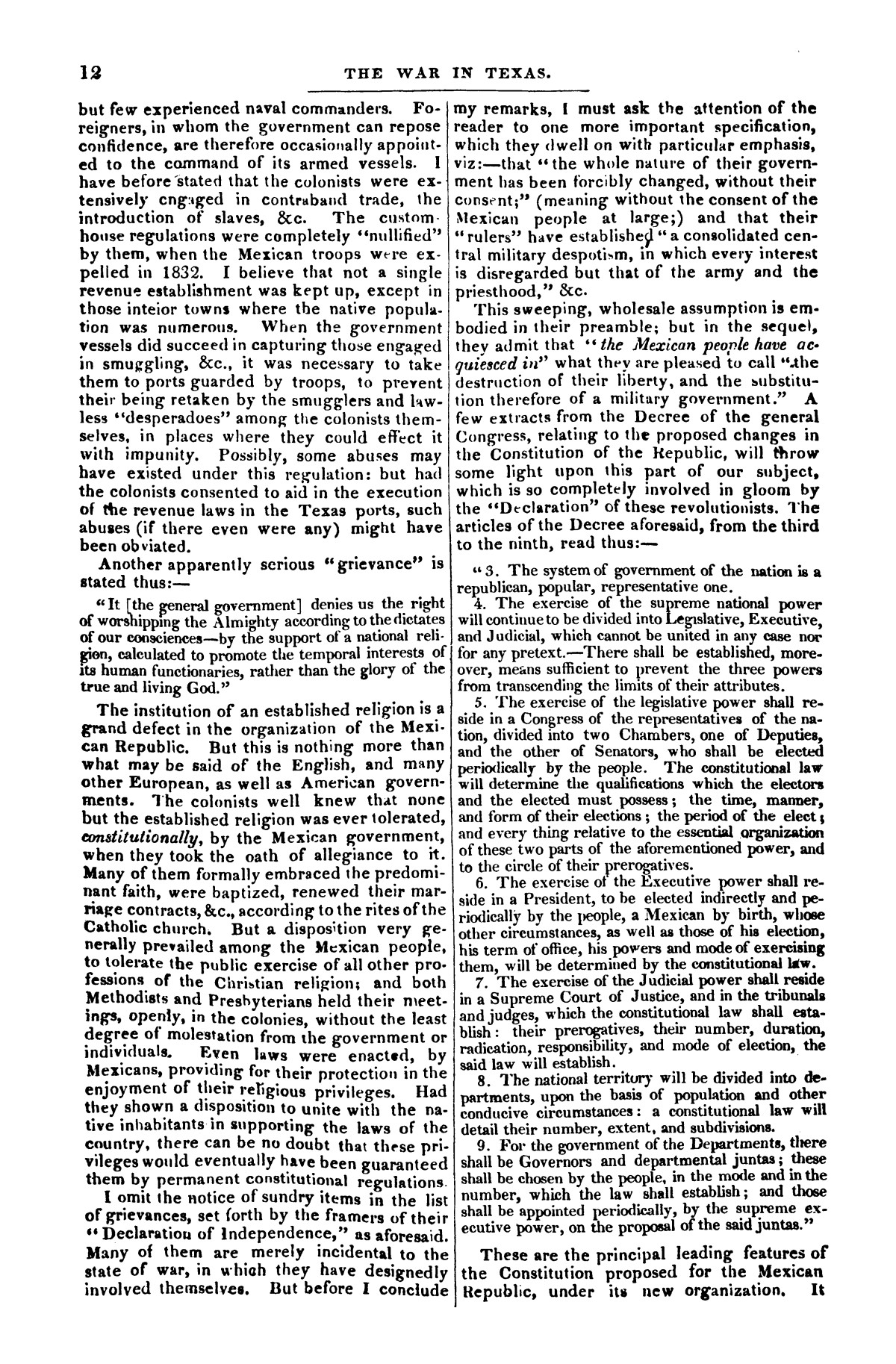 The war in Texas; a review of facts and circumstances, showing that this contest is a crusade against Mexico, set on foot by slaveholders, land speculators, & c. in order to re-establish, extend, and perpetuate the system of slavery and the slave trade.                                                                                                      [Sequence #]: 12 of 64
