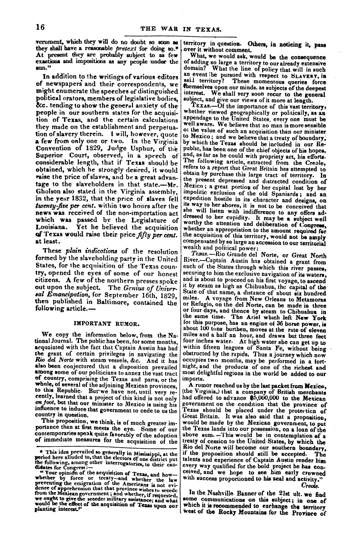 The war in Texas; a review of facts and circumstances, showing that this contest is a crusade against Mexico, set on foot by slaveholders, land speculators, & c. in order to re-establish, extend, and perpetuate the system of slavery and the slave trade.                                                                                                      [Sequence #]: 16 of 64