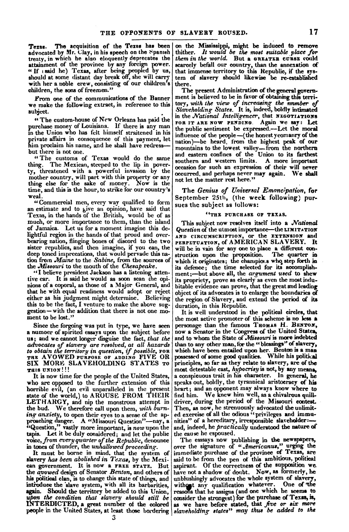 The war in Texas; a review of facts and circumstances, showing that this contest is a crusade against Mexico, set on foot by slaveholders, land speculators, & c. in order to re-establish, extend, and perpetuate the system of slavery and the slave trade.                                                                                                      [Sequence #]: 17 of 64
