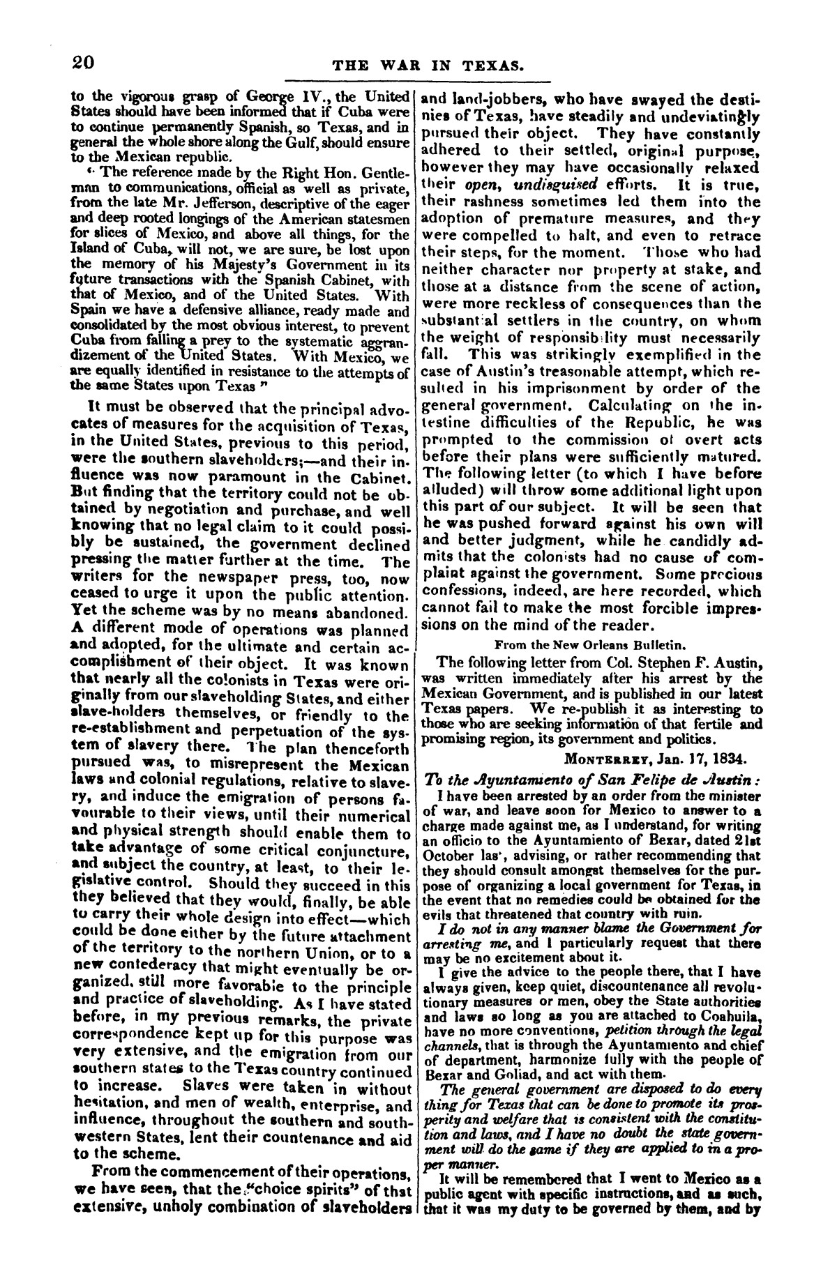 The war in Texas; a review of facts and circumstances, showing that this contest is a crusade against Mexico, set on foot by slaveholders, land speculators, & c. in order to re-establish, extend, and perpetuate the system of slavery and the slave trade.                                                                                                      [Sequence #]: 20 of 64