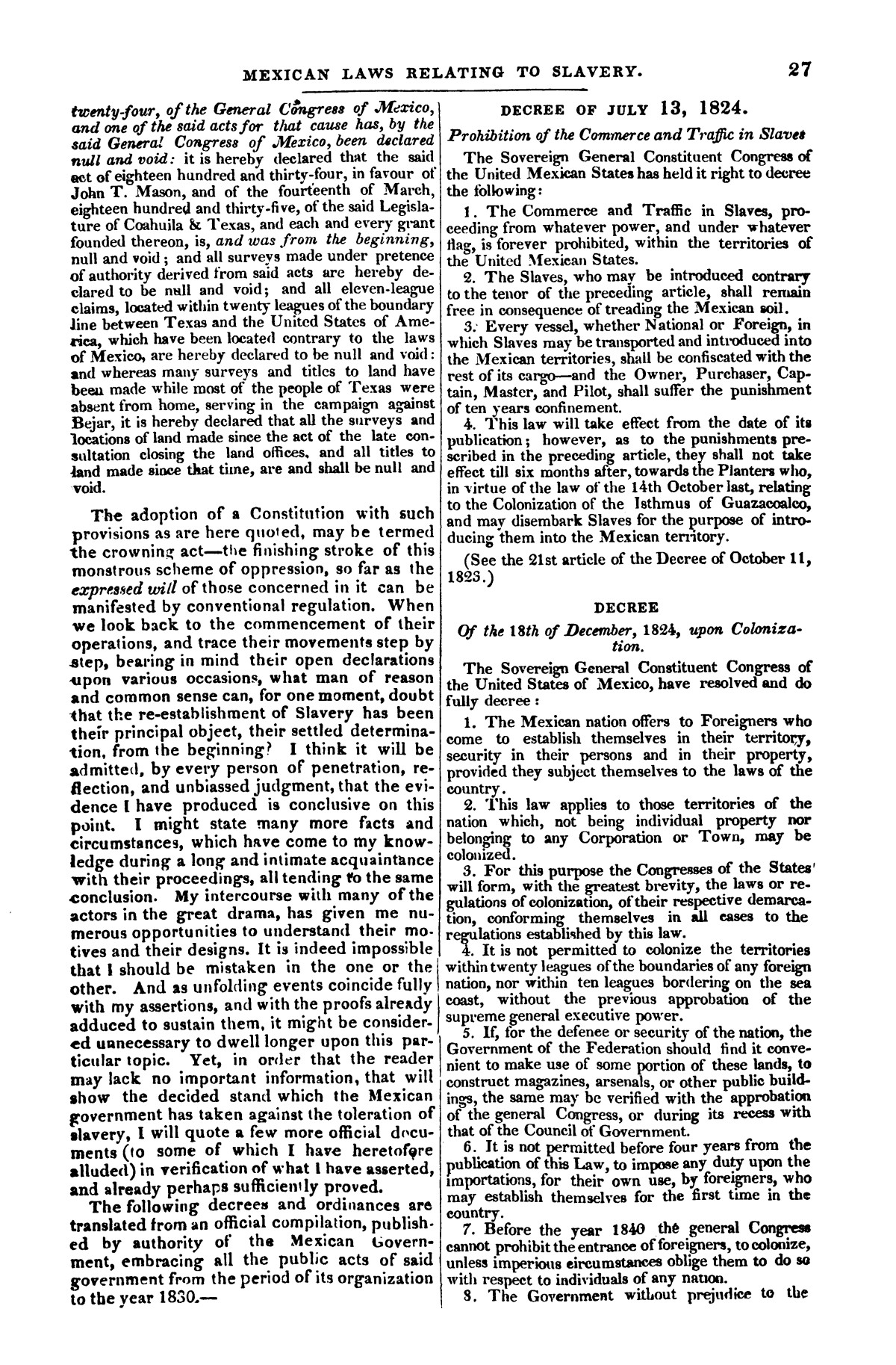 The war in Texas; a review of facts and circumstances, showing that this contest is a crusade against Mexico, set on foot by slaveholders, land speculators, & c. in order to re-establish, extend, and perpetuate the system of slavery and the slave trade.                                                                                                      [Sequence #]: 27 of 64