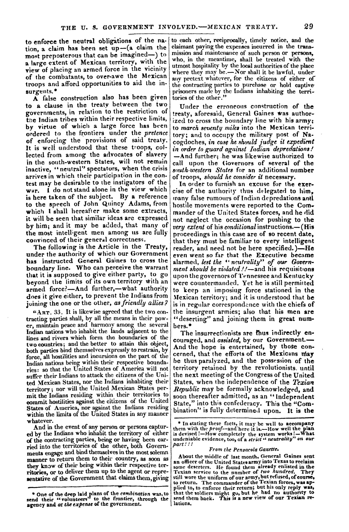 The war in Texas; a review of facts and circumstances, showing that this contest is a crusade against Mexico, set on foot by slaveholders, land speculators, & c. in order to re-establish, extend, and perpetuate the system of slavery and the slave trade.                                                                                                      [Sequence #]: 29 of 64