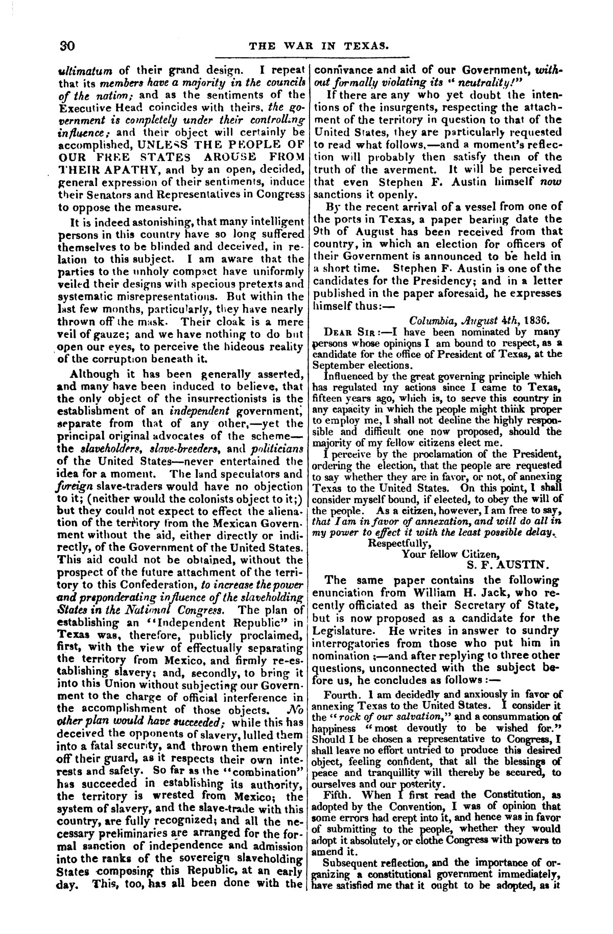 The war in Texas; a review of facts and circumstances, showing that this contest is a crusade against Mexico, set on foot by slaveholders, land speculators, & c. in order to re-establish, extend, and perpetuate the system of slavery and the slave trade.                                                                                                      [Sequence #]: 30 of 64