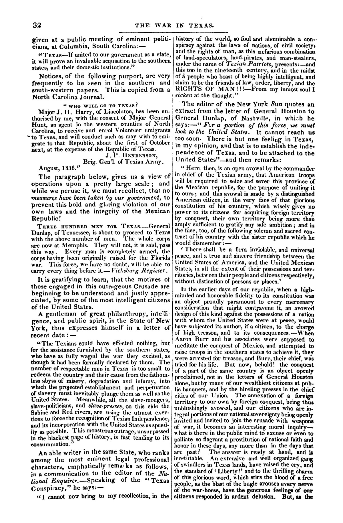 The war in Texas; a review of facts and circumstances, showing that this contest is a crusade against Mexico, set on foot by slaveholders, land speculators, & c. in order to re-establish, extend, and perpetuate the system of slavery and the slave trade.                                                                                                      [Sequence #]: 32 of 64