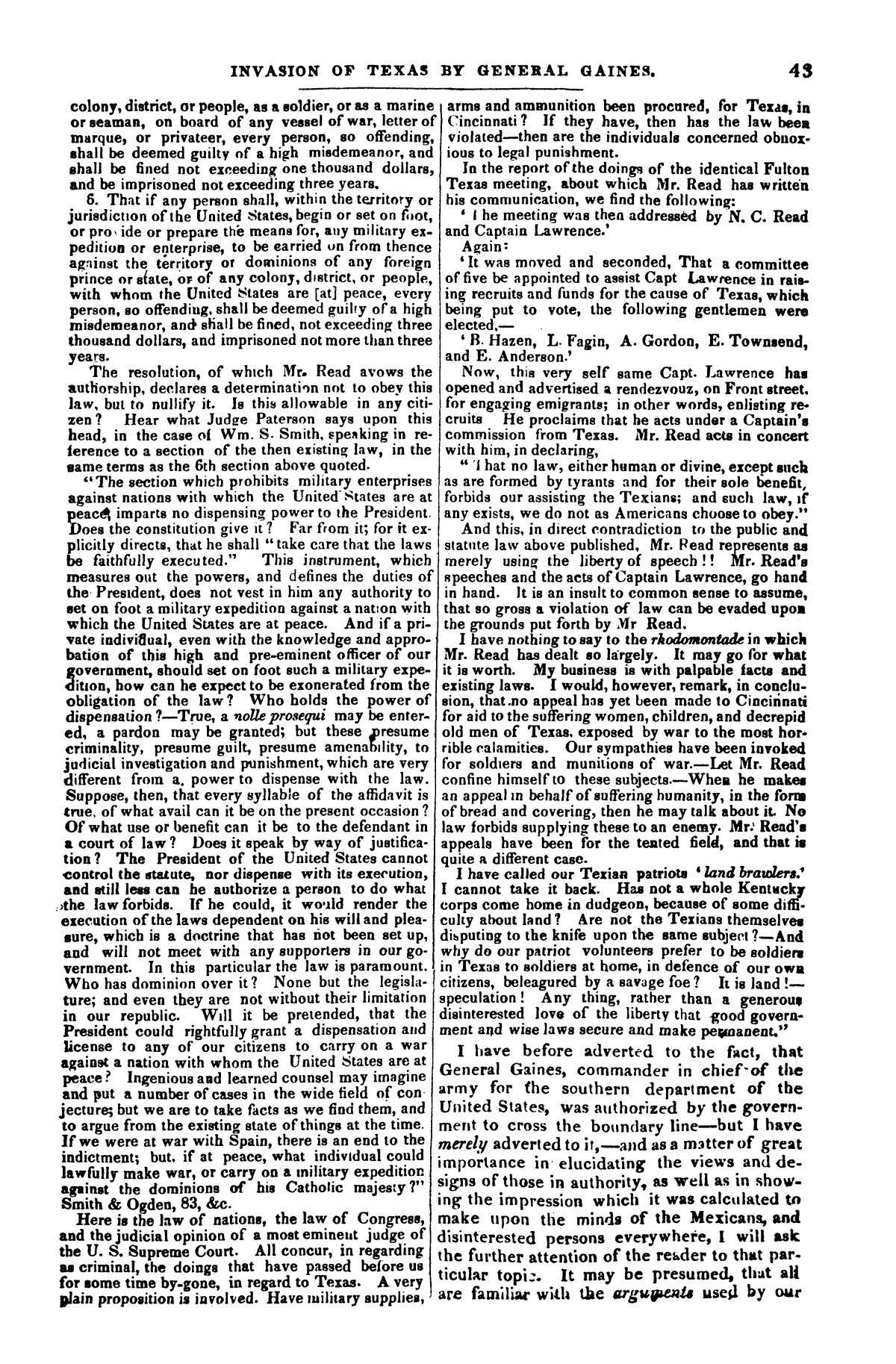 The war in Texas; a review of facts and circumstances, showing that this contest is a crusade against Mexico, set on foot by slaveholders, land speculators, & c. in order to re-establish, extend, and perpetuate the system of slavery and the slave trade.                                                                                                      [Sequence #]: 43 of 64