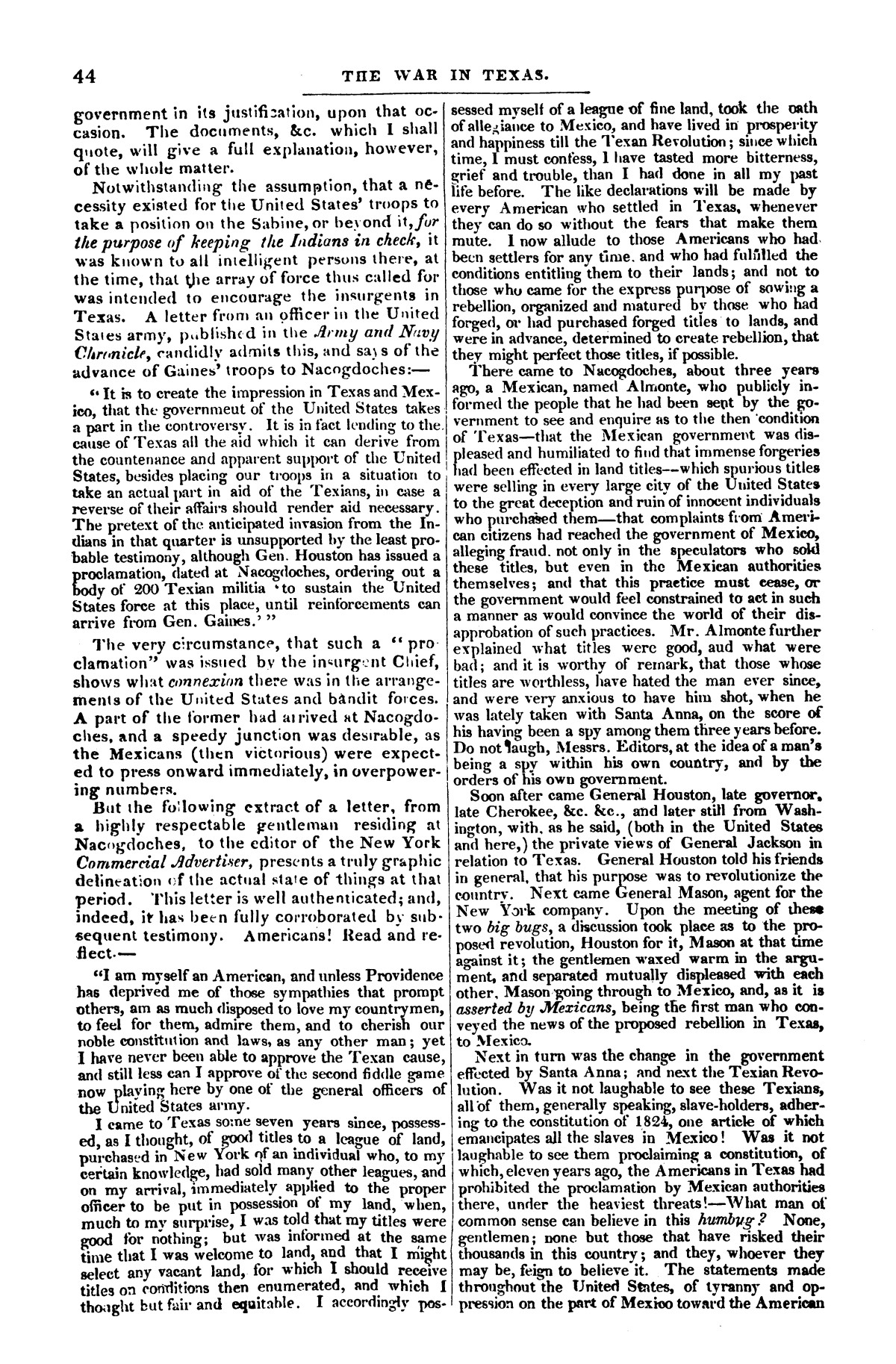 The war in Texas; a review of facts and circumstances, showing that this contest is a crusade against Mexico, set on foot by slaveholders, land speculators, & c. in order to re-establish, extend, and perpetuate the system of slavery and the slave trade.                                                                                                      [Sequence #]: 44 of 64