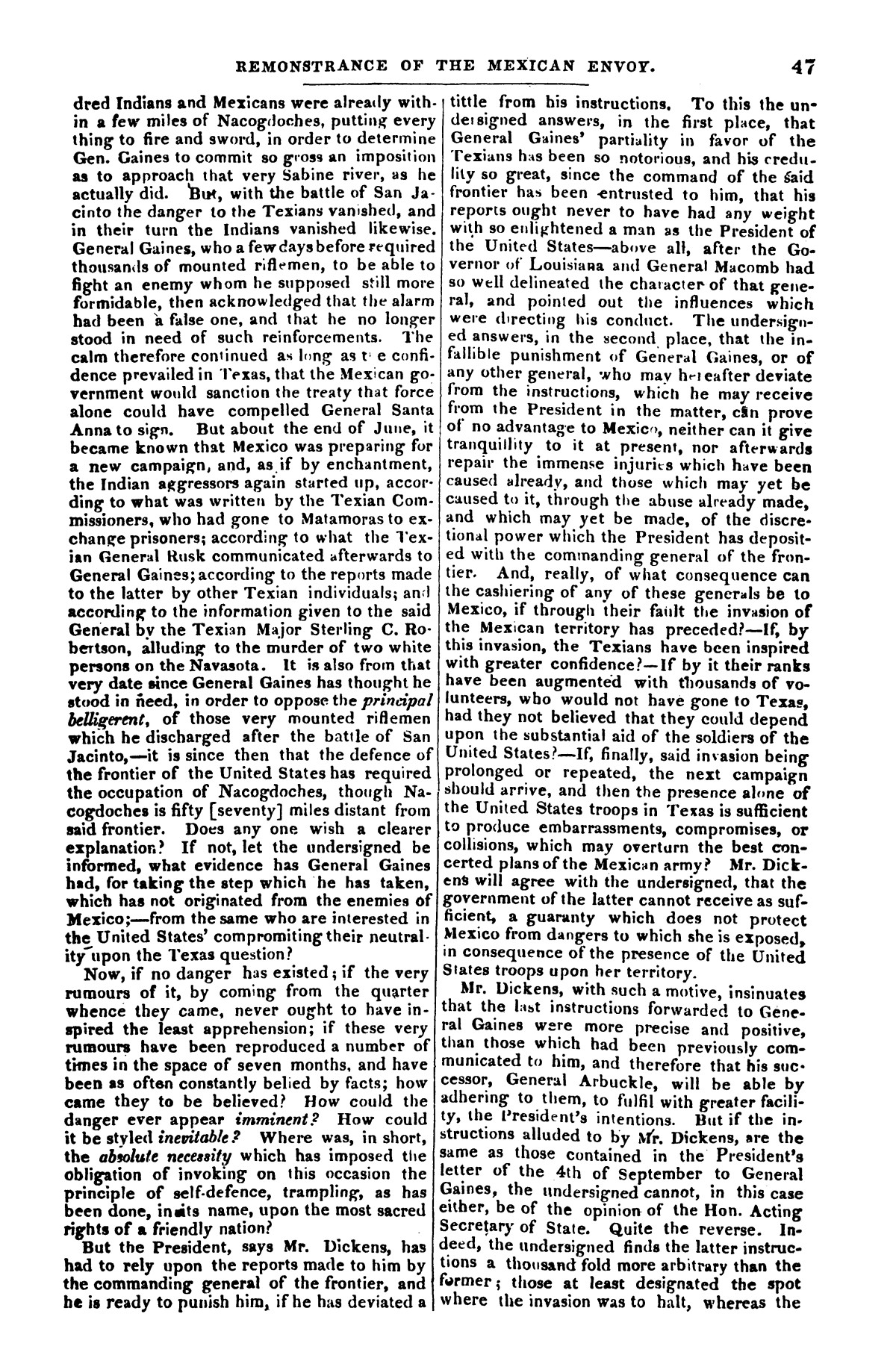The war in Texas; a review of facts and circumstances, showing that this contest is a crusade against Mexico, set on foot by slaveholders, land speculators, & c. in order to re-establish, extend, and perpetuate the system of slavery and the slave trade.                                                                                                      [Sequence #]: 47 of 64