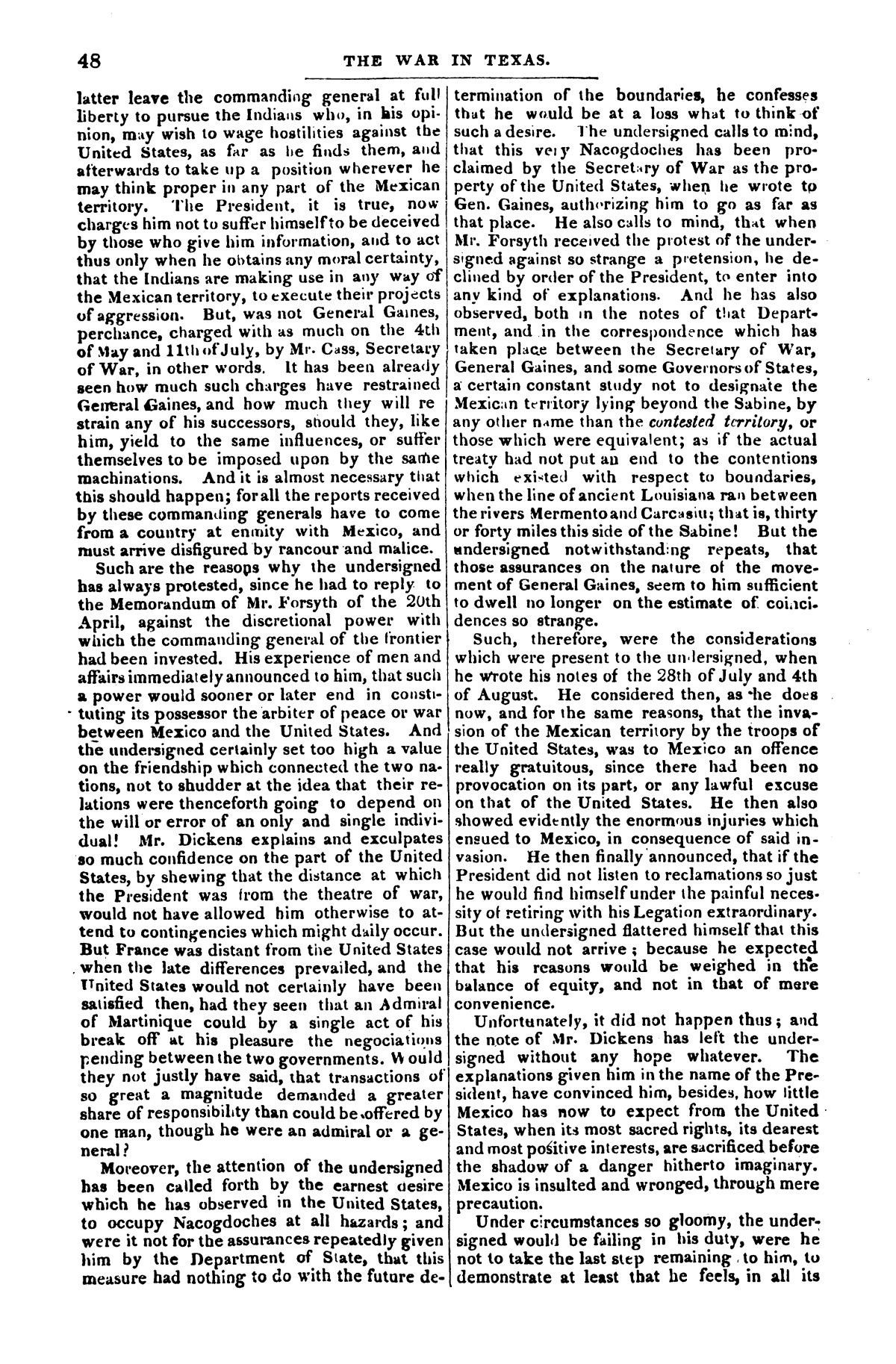 The war in Texas; a review of facts and circumstances, showing that this contest is a crusade against Mexico, set on foot by slaveholders, land speculators, & c. in order to re-establish, extend, and perpetuate the system of slavery and the slave trade.                                                                                                      [Sequence #]: 48 of 64