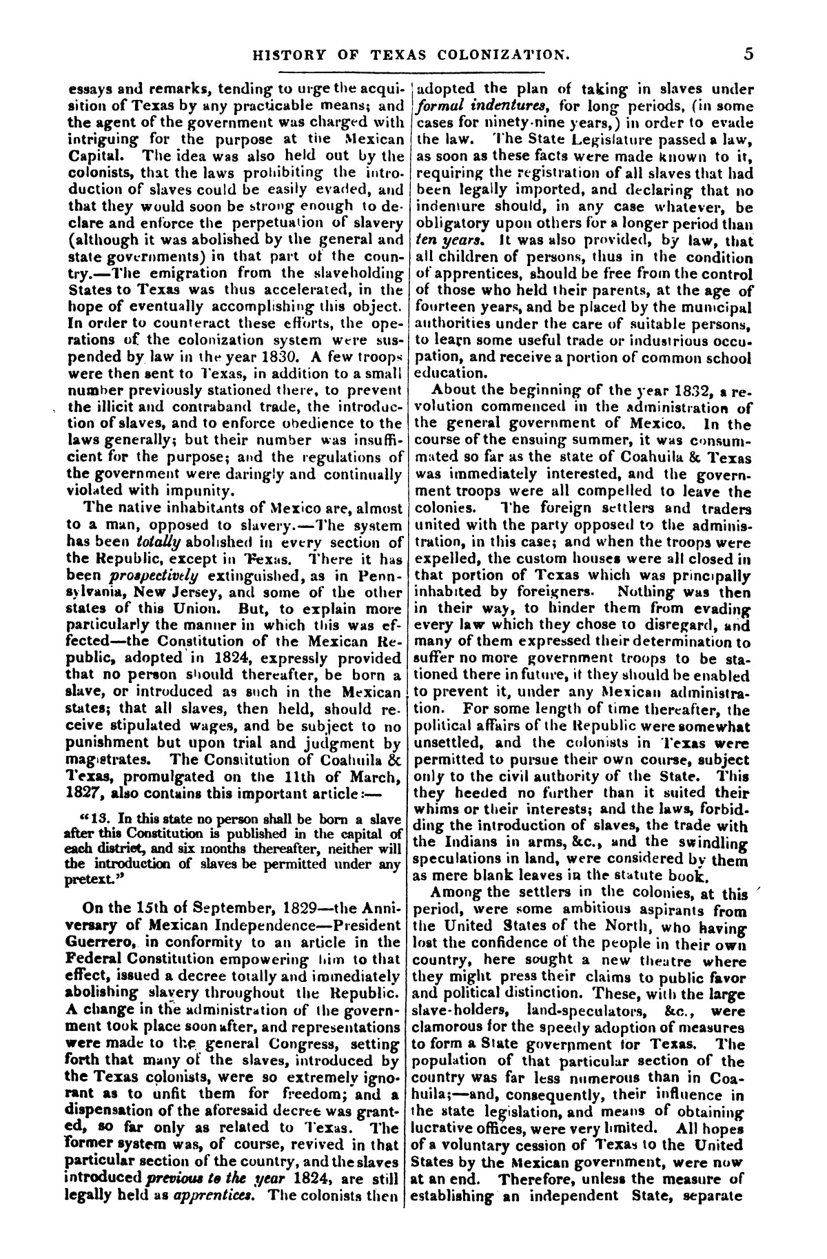 The war in Texas; a review of facts and circumstances, showing that this contest is a crusade against Mexico, set on foot by slaveholders, land speculators, & c. in order to re-establish, extend, and perpetuate the system of slavery and the slave trade.                                                                                                      [Sequence #]: 5 of 64