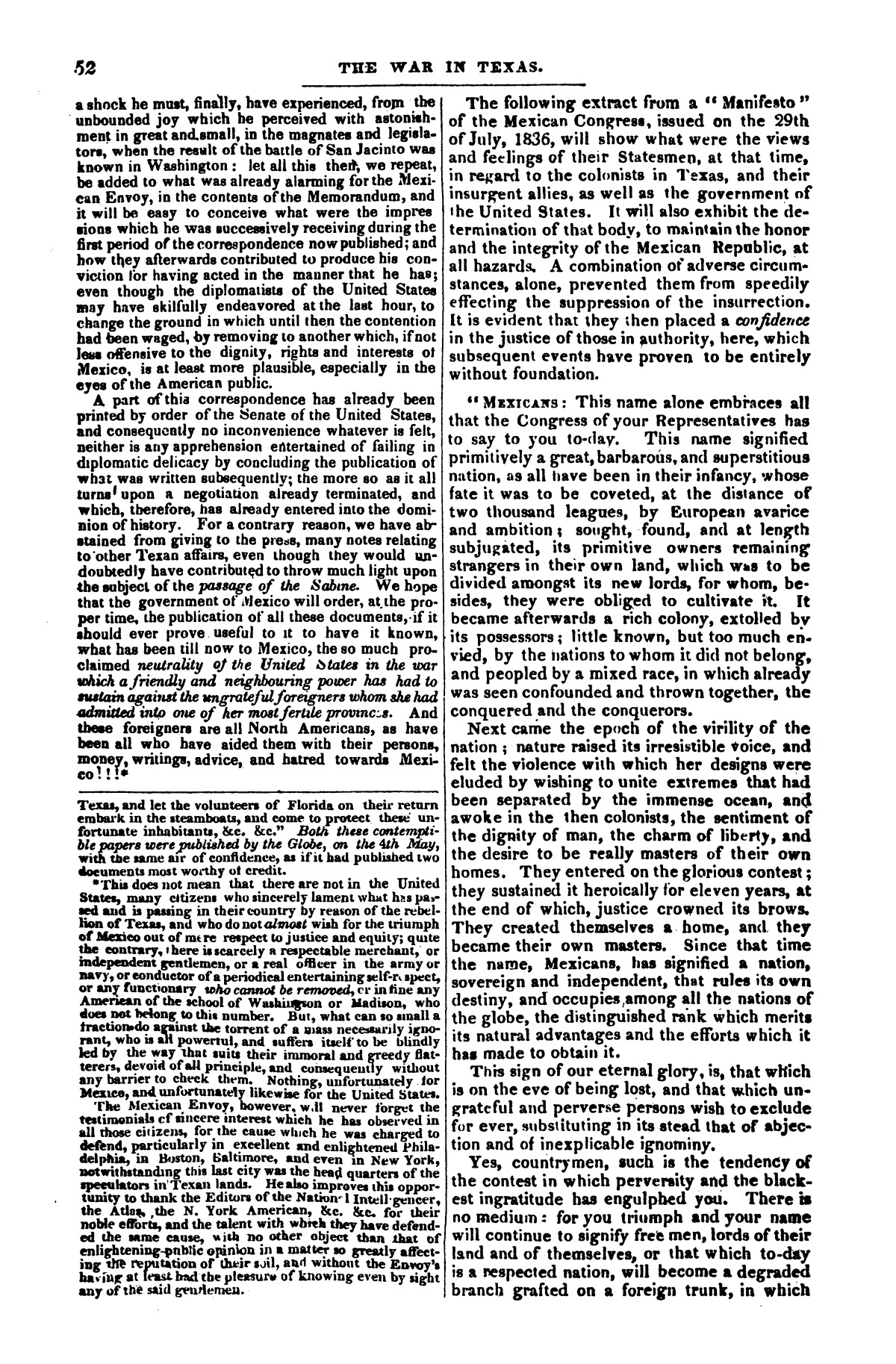 The war in Texas; a review of facts and circumstances, showing that this contest is a crusade against Mexico, set on foot by slaveholders, land speculators, & c. in order to re-establish, extend, and perpetuate the system of slavery and the slave trade.                                                                                                      [Sequence #]: 52 of 64