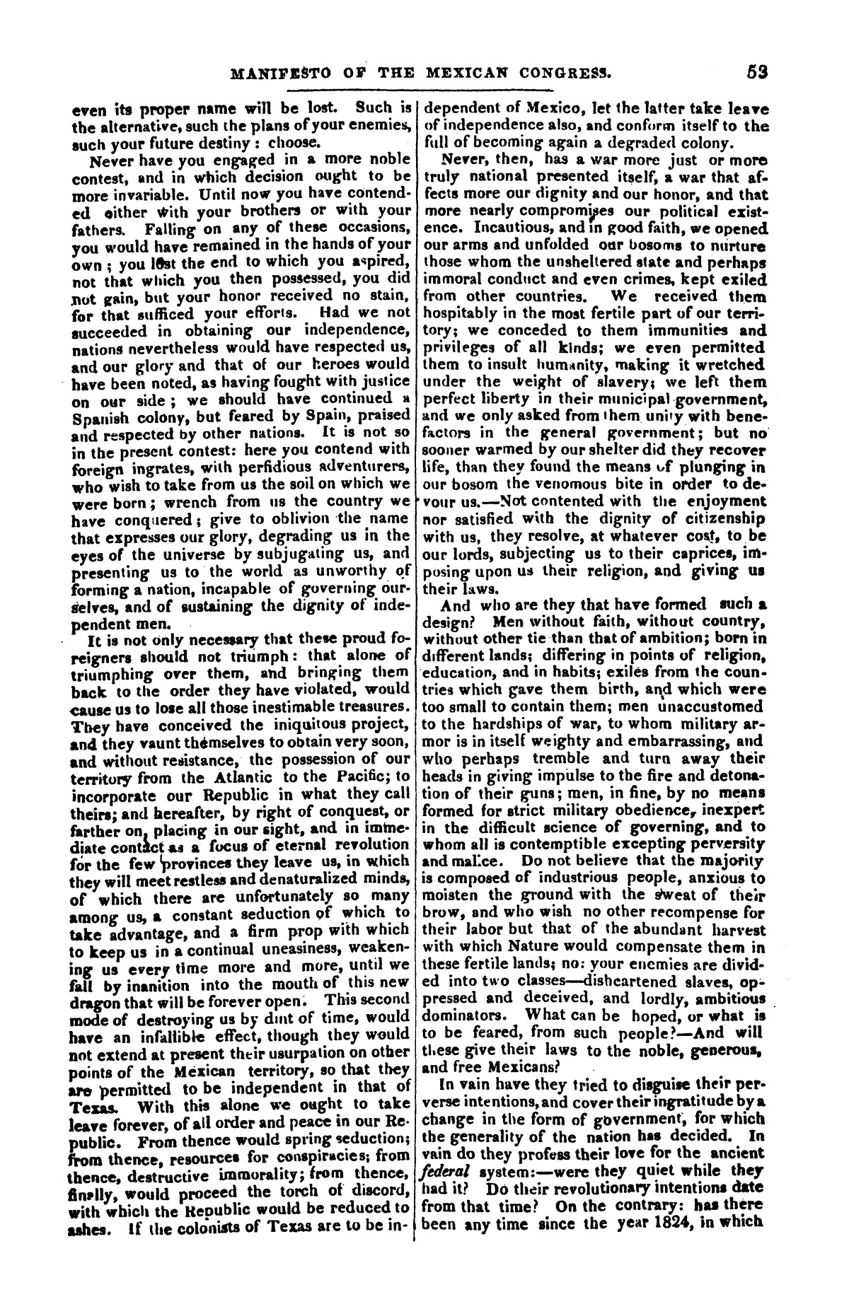 The war in Texas; a review of facts and circumstances, showing that this contest is a crusade against Mexico, set on foot by slaveholders, land speculators, & c. in order to re-establish, extend, and perpetuate the system of slavery and the slave trade.                                                                                                      [Sequence #]: 53 of 64
