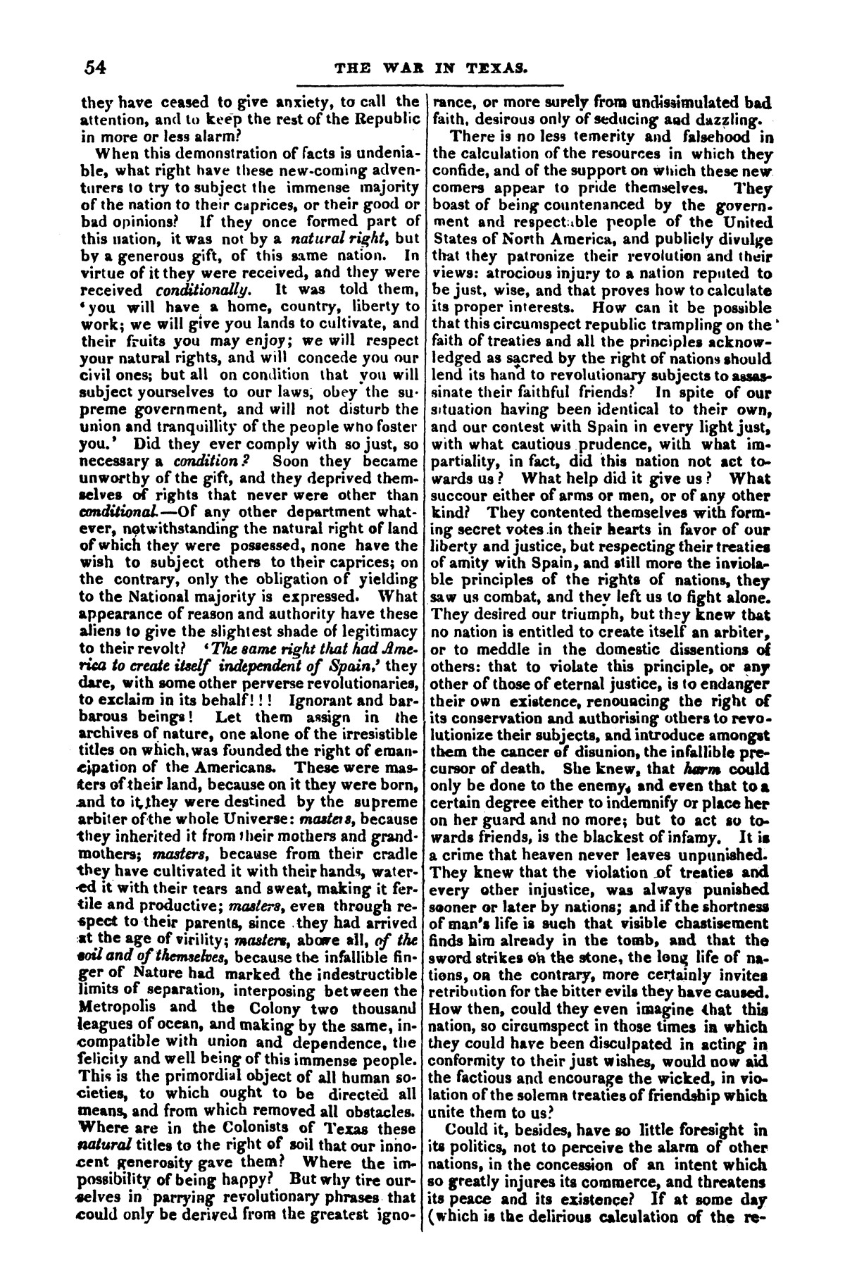 The war in Texas; a review of facts and circumstances, showing that this contest is a crusade against Mexico, set on foot by slaveholders, land speculators, & c. in order to re-establish, extend, and perpetuate the system of slavery and the slave trade.                                                                                                      [Sequence #]: 54 of 64