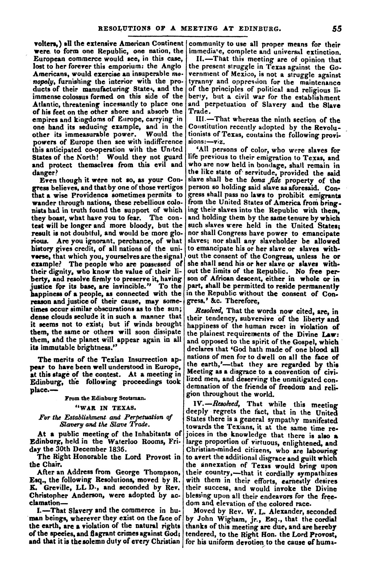 The war in Texas; a review of facts and circumstances, showing that this contest is a crusade against Mexico, set on foot by slaveholders, land speculators, & c. in order to re-establish, extend, and perpetuate the system of slavery and the slave trade.                                                                                                      [Sequence #]: 55 of 64