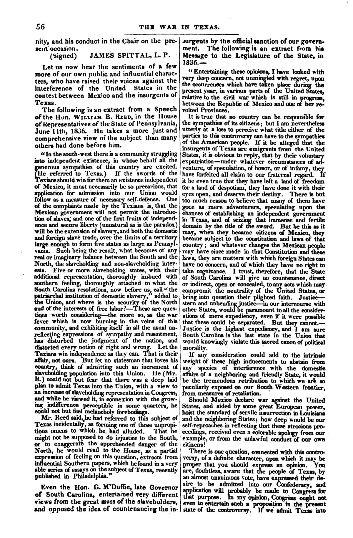 The war in Texas; a review of facts and circumstances, showing that this contest is a crusade against Mexico, set on foot by slaveholders, land speculators, & c. in order to re-establish, extend, and perpetuate the system of slavery and the slave trade.                                                                                                      [Sequence #]: 56 of 64