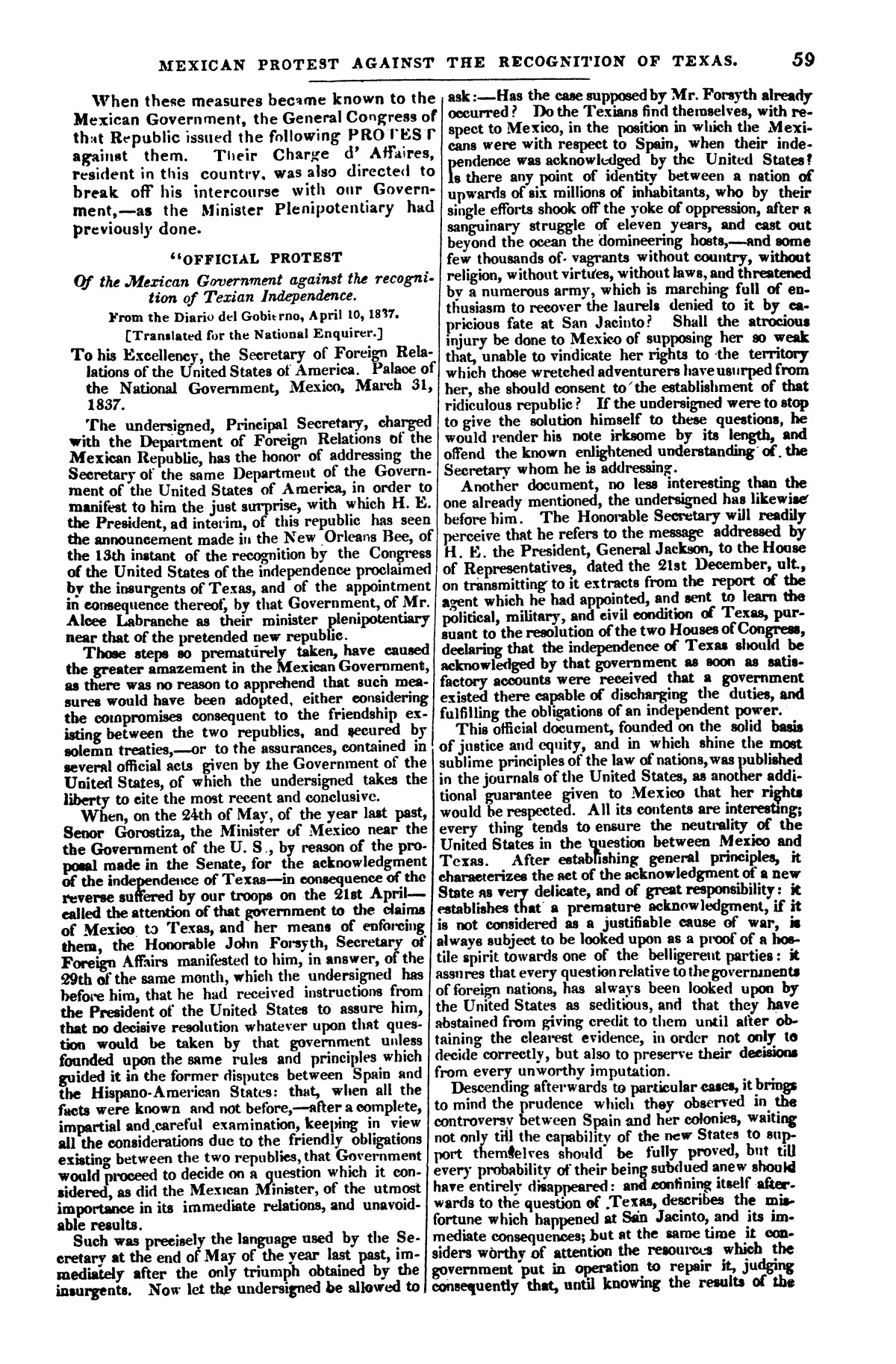The war in Texas; a review of facts and circumstances, showing that this contest is a crusade against Mexico, set on foot by slaveholders, land speculators, & c. in order to re-establish, extend, and perpetuate the system of slavery and the slave trade.                                                                                                      [Sequence #]: 59 of 64
