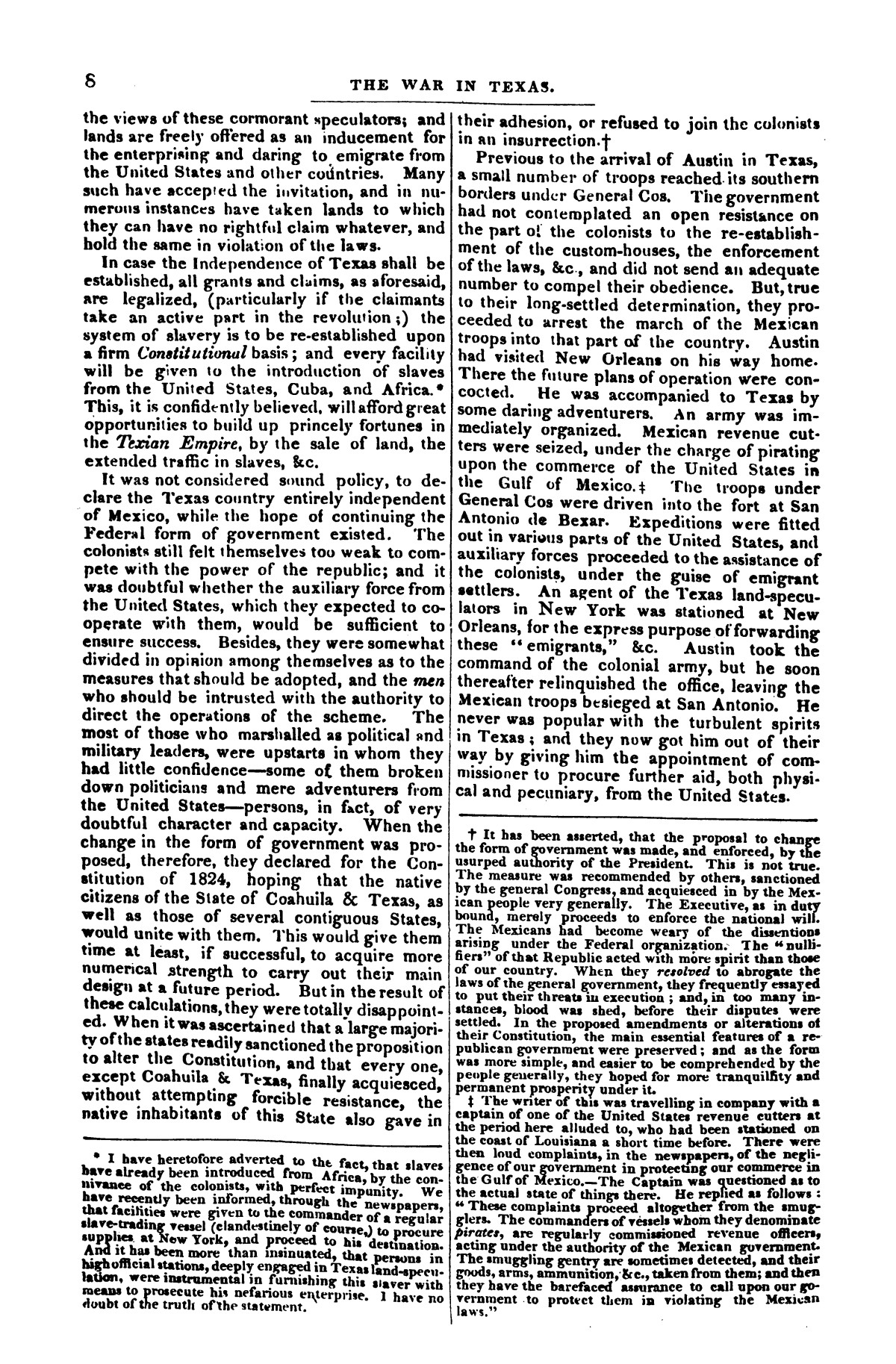 The war in Texas; a review of facts and circumstances, showing that this contest is a crusade against Mexico, set on foot by slaveholders, land speculators, & c. in order to re-establish, extend, and perpetuate the system of slavery and the slave trade.                                                                                                      [Sequence #]: 8 of 64