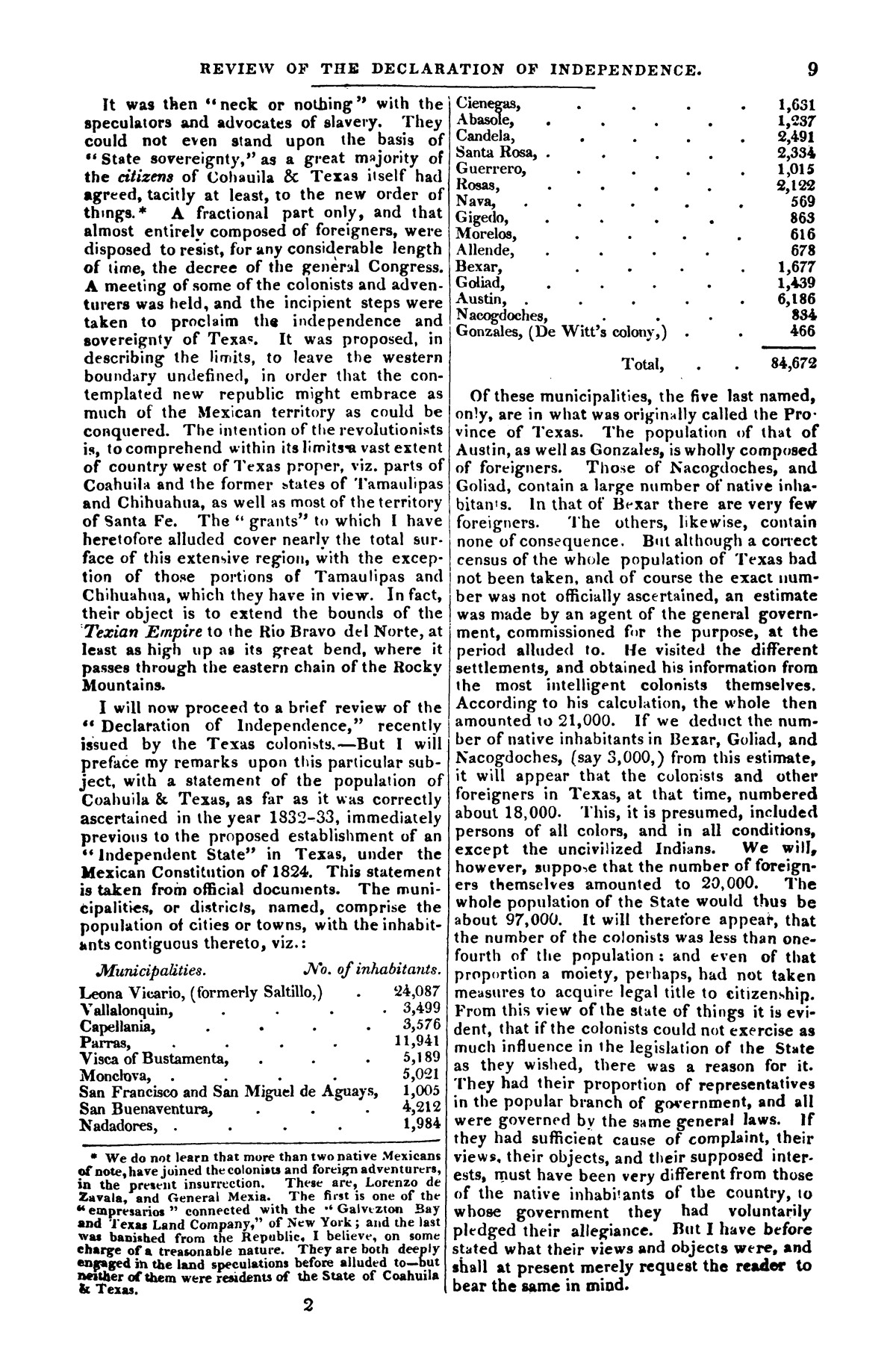 The war in Texas; a review of facts and circumstances, showing that this contest is a crusade against Mexico, set on foot by slaveholders, land speculators, & c. in order to re-establish, extend, and perpetuate the system of slavery and the slave trade.                                                                                                      [Sequence #]: 9 of 64