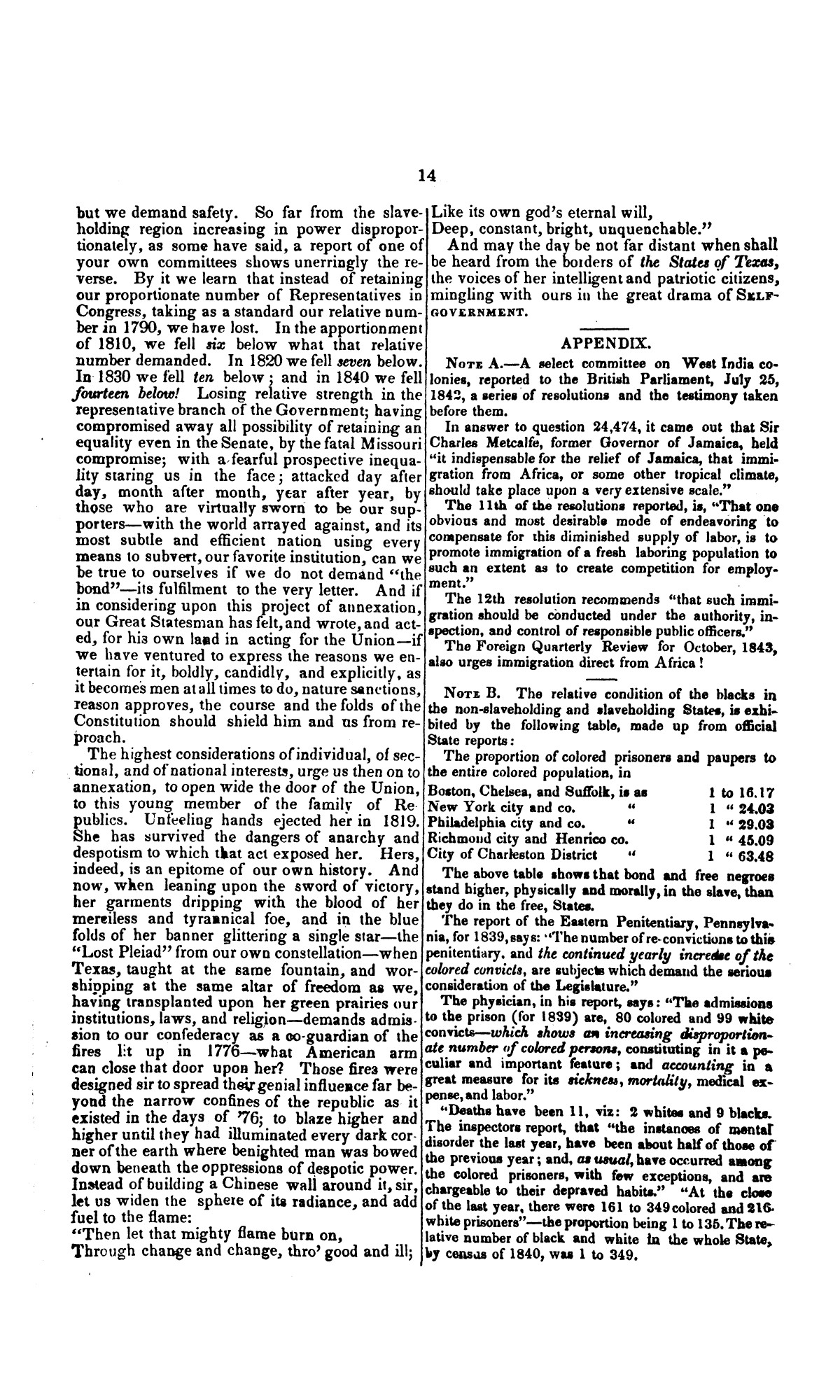 Speech of Hon. Wm. Lowndes Yancey, of Alabama, on the annexation of Texas to the United States, delivered in the House of Representatives, Jan. 7, 1845.                                                                                                      [Sequence #]: 14 of 14
