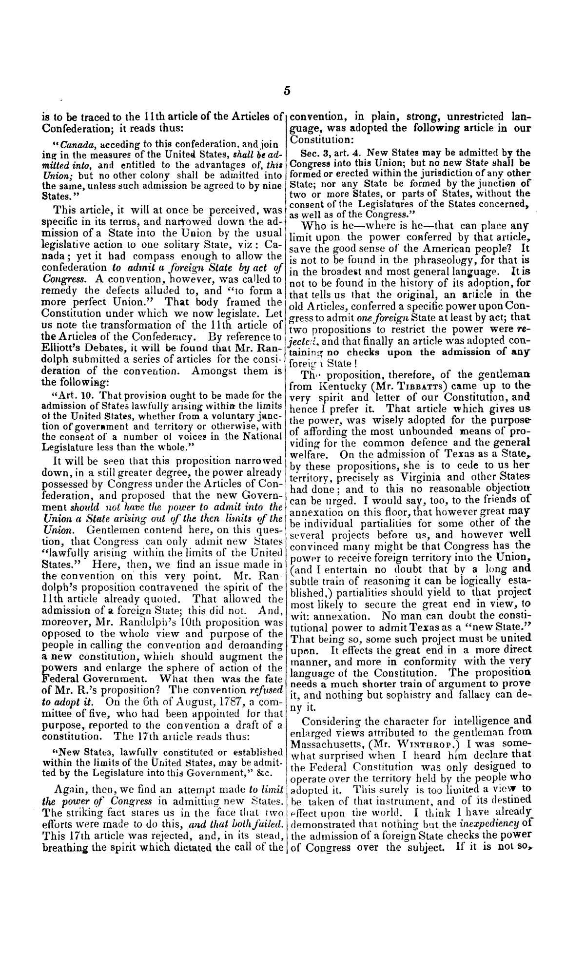 Speech of Hon. Wm. Lowndes Yancey, of Alabama, on the annexation of Texas to the United States, delivered in the House of Representatives, Jan. 7, 1845.                                                                                                      [Sequence #]: 5 of 14