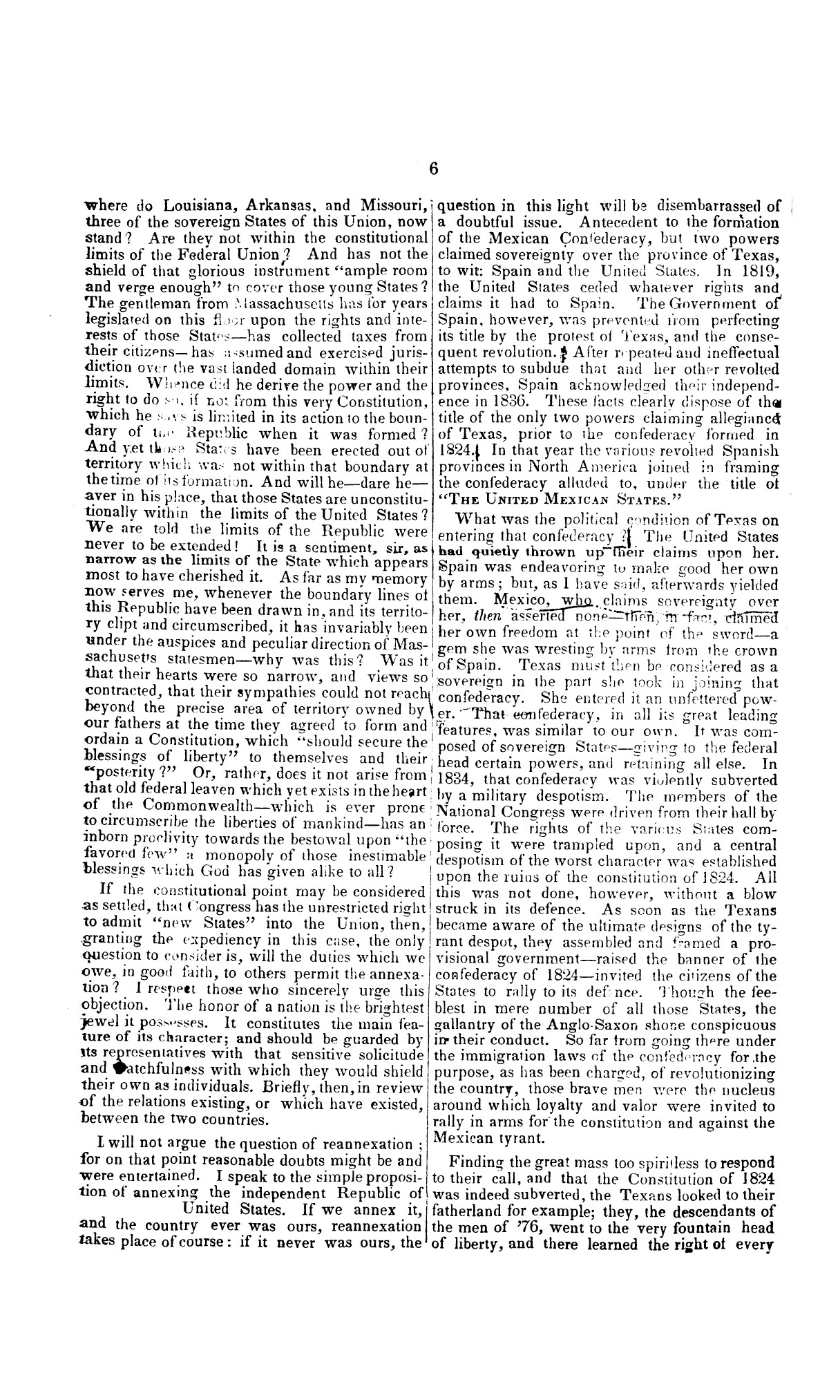 Speech of Hon. Wm. Lowndes Yancey, of Alabama, on the annexation of Texas to the United States, delivered in the House of Representatives, Jan. 7, 1845.                                                                                                      [Sequence #]: 6 of 14