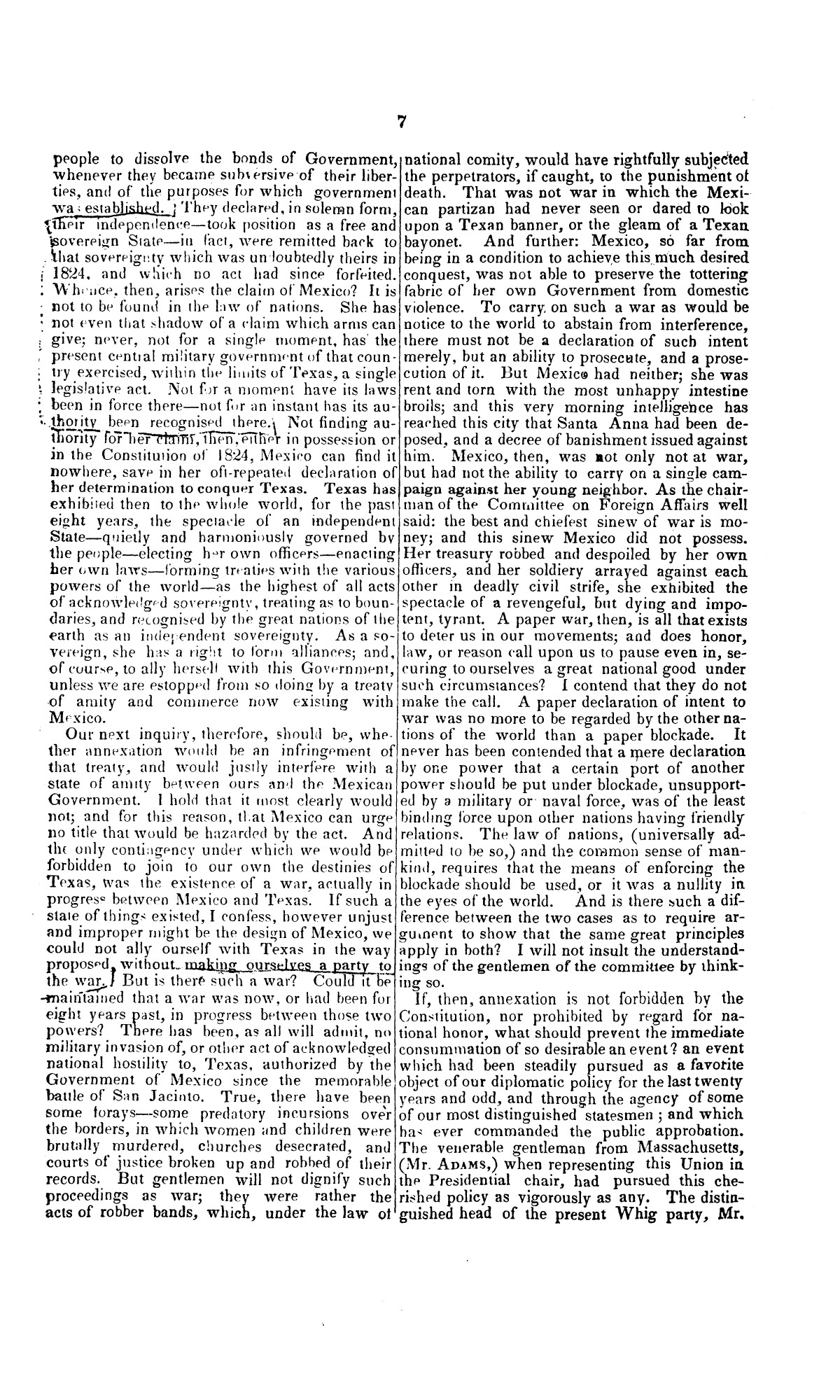 Speech of Hon. Wm. Lowndes Yancey, of Alabama, on the annexation of Texas to the United States, delivered in the House of Representatives, Jan. 7, 1845.                                                                                                      [Sequence #]: 7 of 14