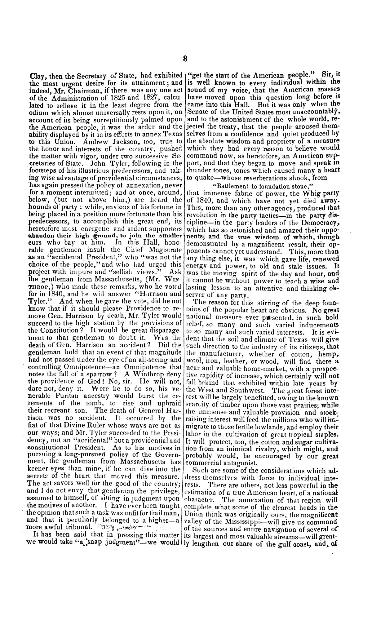 Speech of Hon. Wm. Lowndes Yancey, of Alabama, on the annexation of Texas to the United States, delivered in the House of Representatives, Jan. 7, 1845.                                                                                                      [Sequence #]: 8 of 14