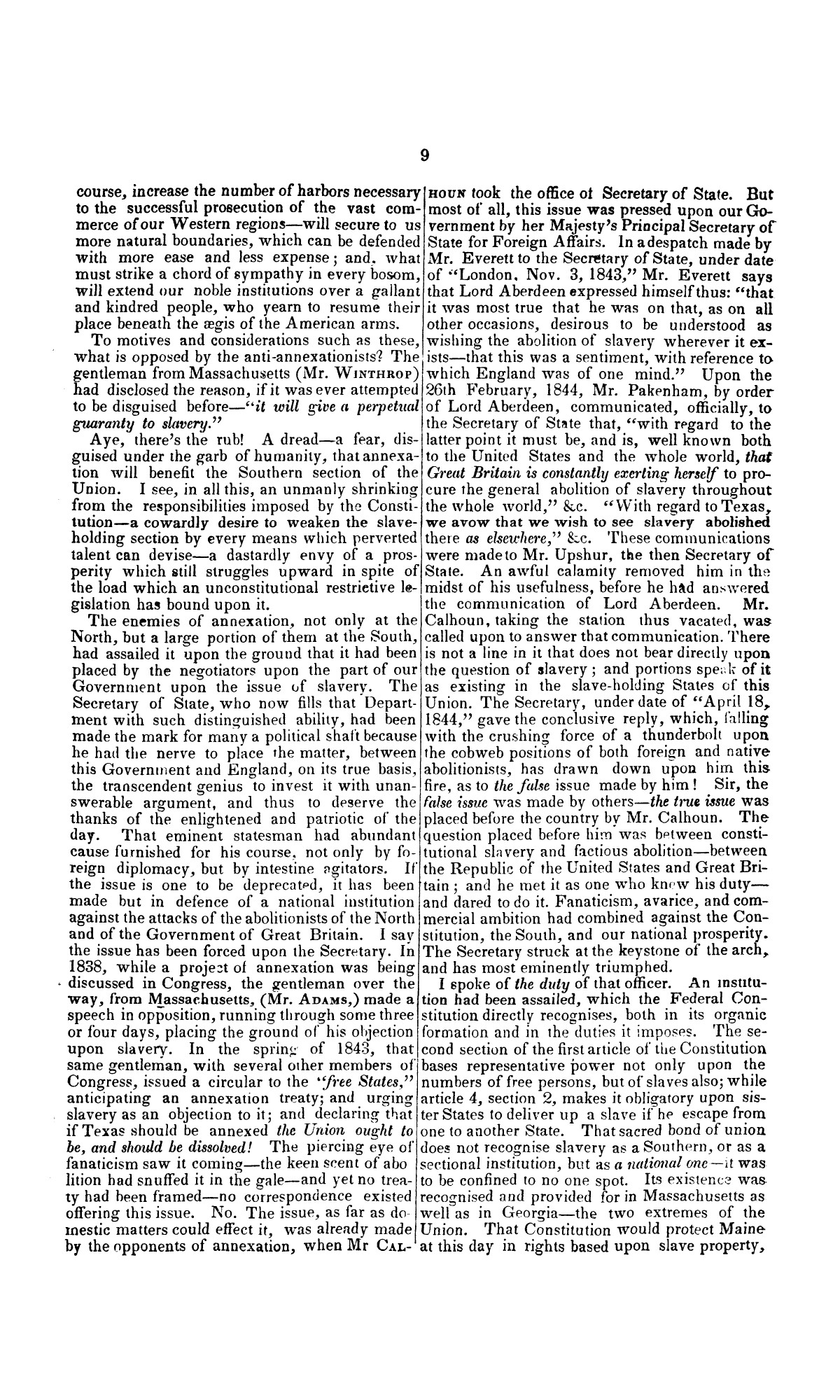 Speech of Hon. Wm. Lowndes Yancey, of Alabama, on the annexation of Texas to the United States, delivered in the House of Representatives, Jan. 7, 1845.                                                                                                      [Sequence #]: 9 of 14