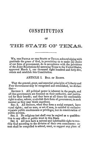 Primary view of object titled 'The Constitution of the state of Texas.'.