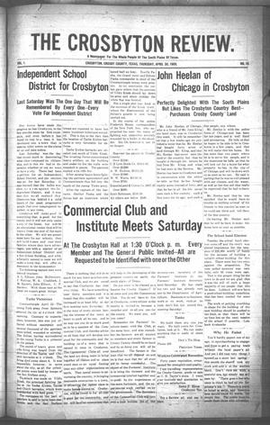 Primary view of object titled 'The Crosbyton Review. (Crosbyton, Tex.), Vol. 1, No. 16, Ed. 1 Thursday, April 29, 1909'.