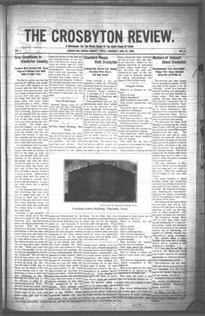 Primary view of object titled 'The Crosbyton Review. (Crosbyton, Tex.), Vol. 1, No. 24, Ed. 1 Thursday, June 24, 1909'.