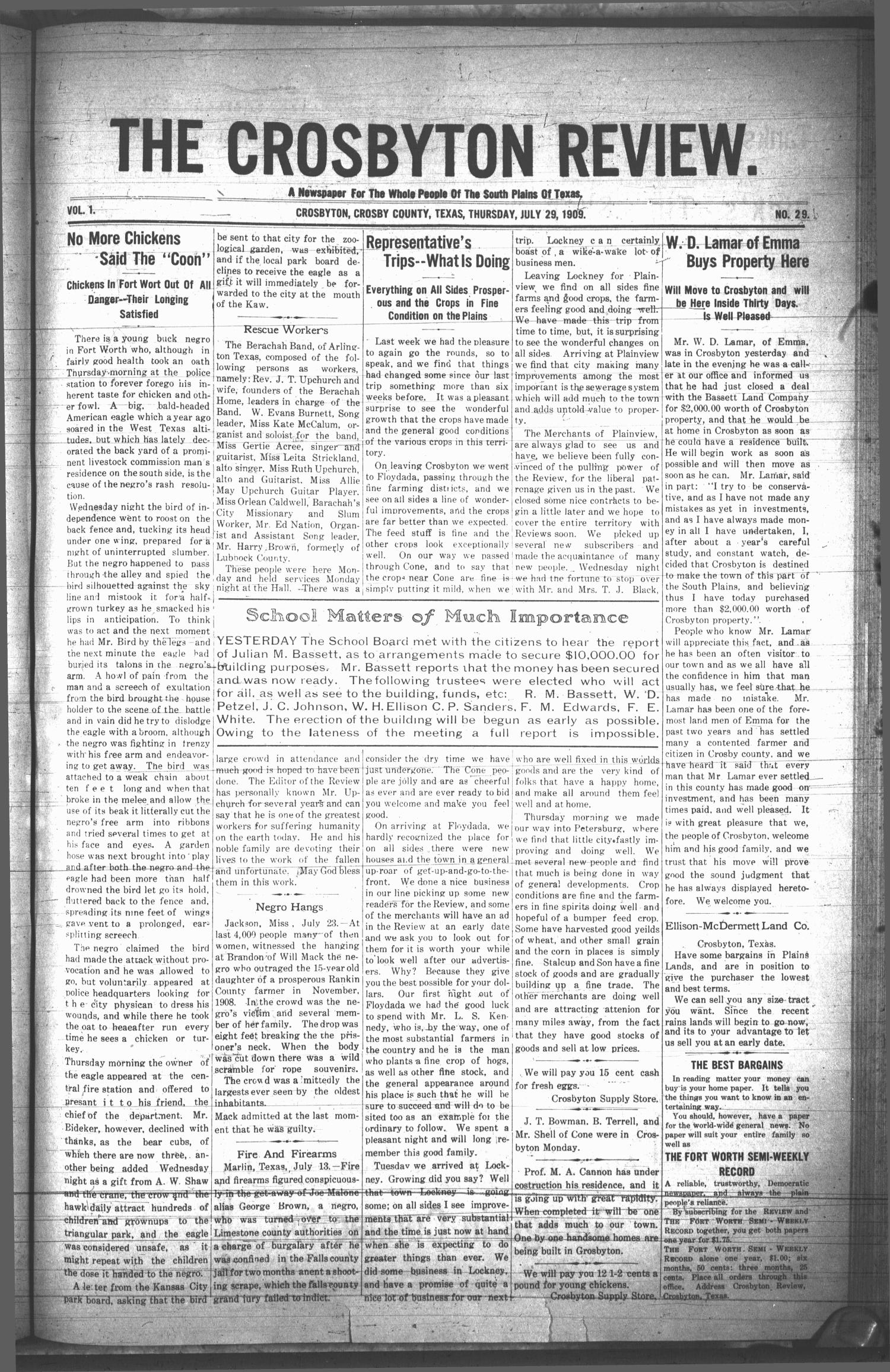 The Crosbyton Review. (Crosbyton, Tex.), Vol. 1, No. 29, Ed. 1 Thursday, July 29, 1909                                                                                                      [Sequence #]: 1 of 8