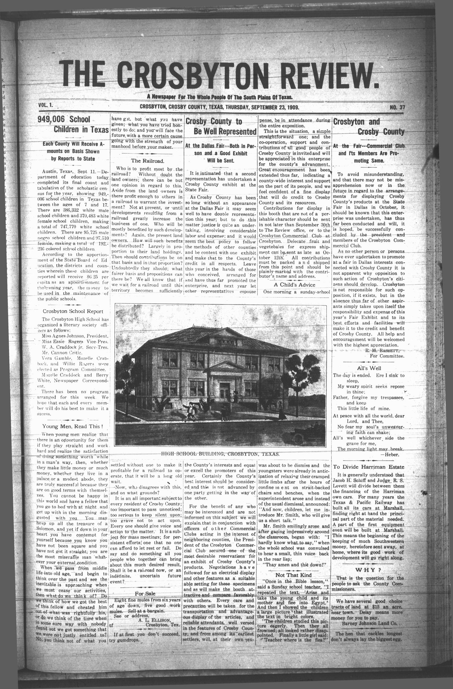 The Crosbyton Review. (Crosbyton, Tex.), Vol. 1, No. 37, Ed. 1 Thursday, September 23, 1909                                                                                                      [Sequence #]: 1 of 8