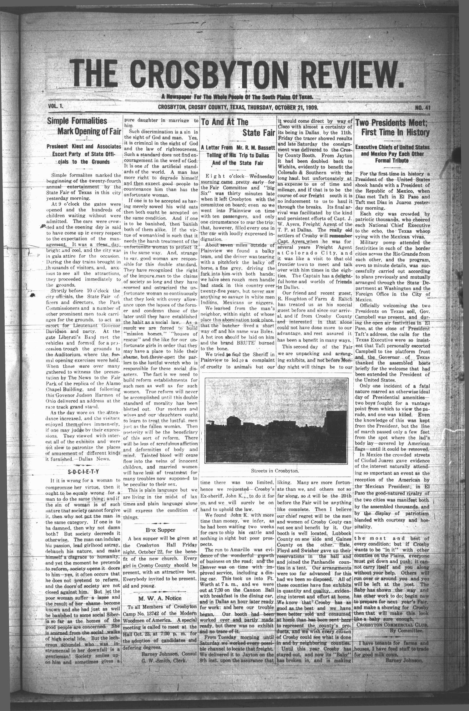 The Crosbyton Review. (Crosbyton, Tex.), Vol. 1, No. 41, Ed. 1 Thursday, October 21, 1909                                                                                                      [Sequence #]: 1 of 8
