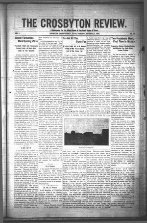 Primary view of object titled 'The Crosbyton Review. (Crosbyton, Tex.), Vol. 1, No. 41, Ed. 1 Thursday, October 21, 1909'.