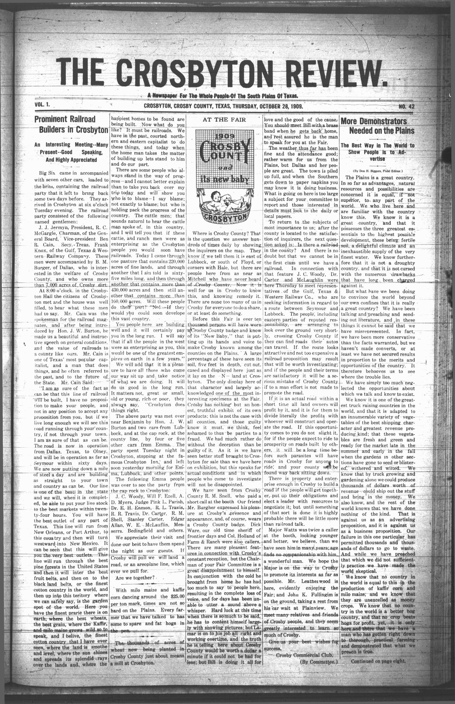 The Crosbyton Review. (Crosbyton, Tex.), Vol. 1, No. 42, Ed. 1 Thursday, October 28, 1909                                                                                                      [Sequence #]: 1 of 10