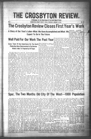 Primary view of object titled 'The Crosbyton Review. (Crosbyton, Tex.), Vol. 1, No. 52, Ed. 1 Thursday, January 6, 1910'.