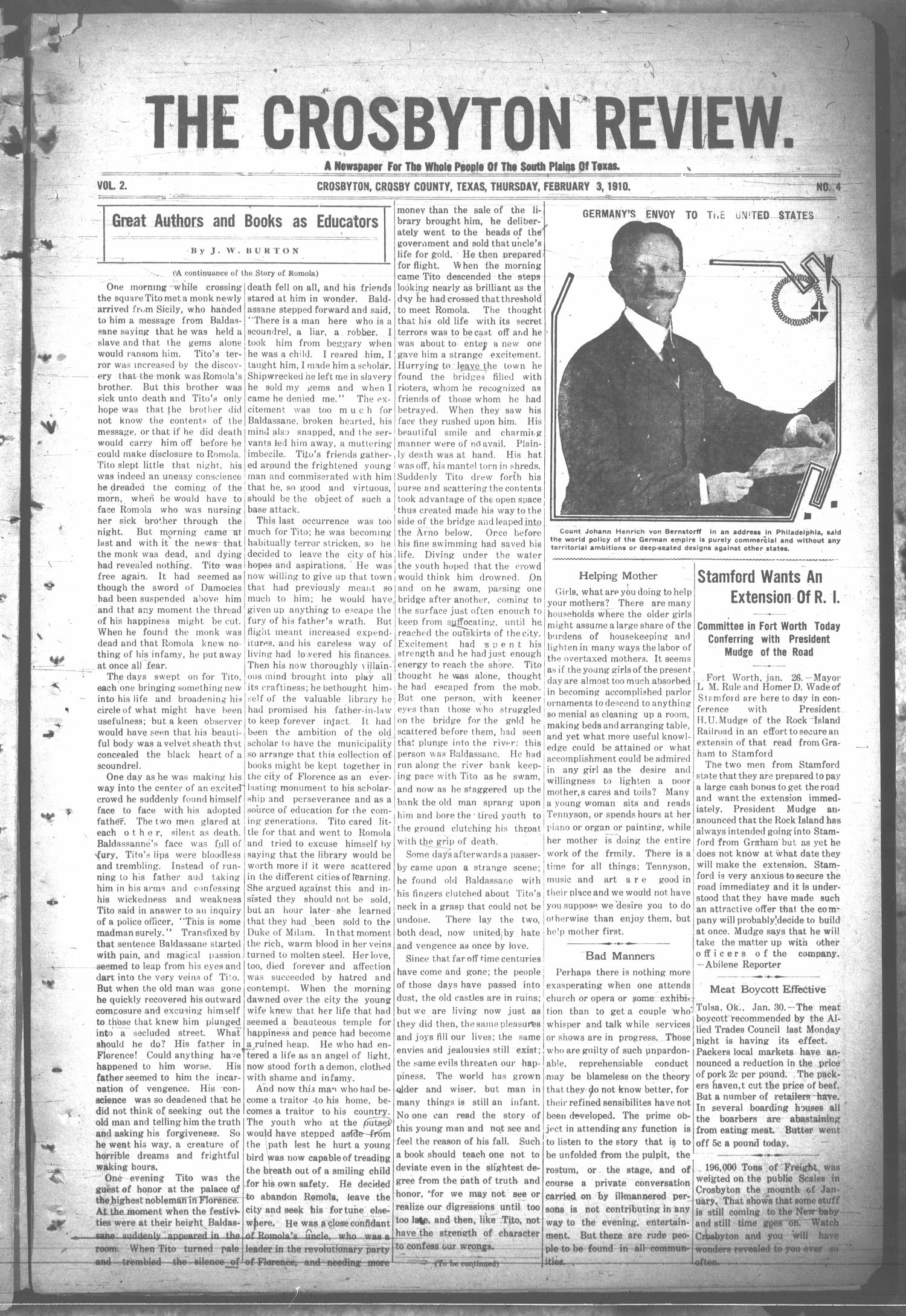 The Crosbyton Review. (Crosbyton, Tex.), Vol. 2, No. 4, Ed. 1 Thursday, February 3, 1910                                                                                                      [Sequence #]: 1 of 10
