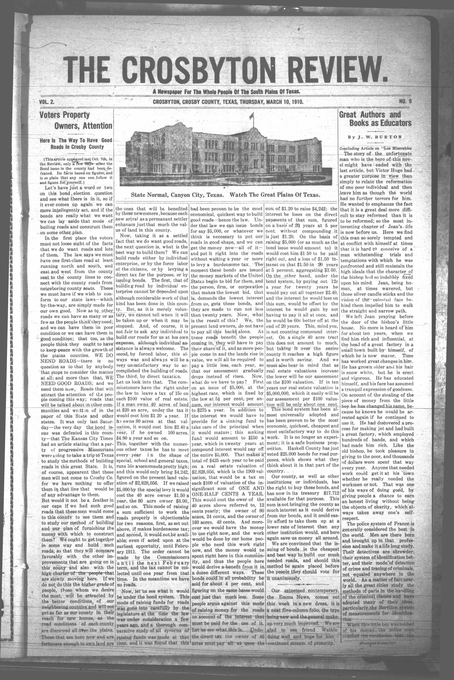 The Crosbyton Review. (Crosbyton, Tex.), Vol. 2, No. 9, Ed. 1 Thursday, March 10, 1910                                                                                                      [Sequence #]: 1 of 12