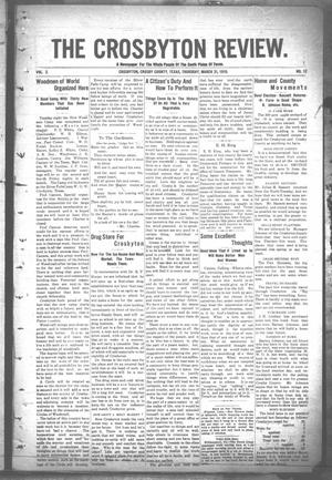 Primary view of object titled 'The Crosbyton Review. (Crosbyton, Tex.), Vol. 2, No. 12, Ed. 1 Thursday, March 31, 1910'.