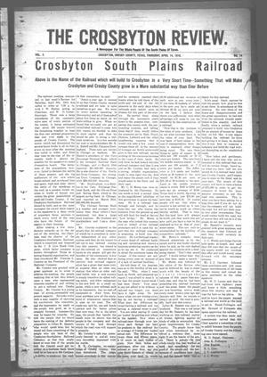 Primary view of object titled 'The Crosbyton Review. (Crosbyton, Tex.), Vol. 2, No. 14, Ed. 1 Thursday, April 14, 1910'.
