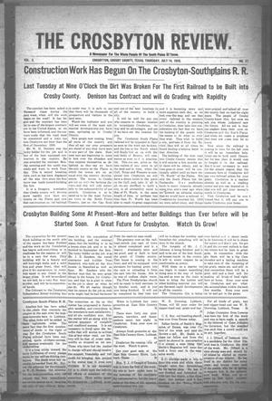 Primary view of object titled 'The Crosbyton Review. (Crosbyton, Tex.), Vol. 2, No. 27, Ed. 1 Thursday, July 14, 1910'.