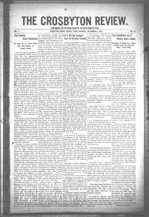 Primary view of object titled 'The Crosbyton Review. (Crosbyton, Tex.), Vol. 2, No. 35, Ed. 1 Thursday, September 8, 1910'.