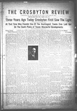 Primary view of object titled 'The Crosbyton Review. (Crosbyton, Tex.), Vol. 3, No. 23, Ed. 1 Thursday, June 8, 1911'.