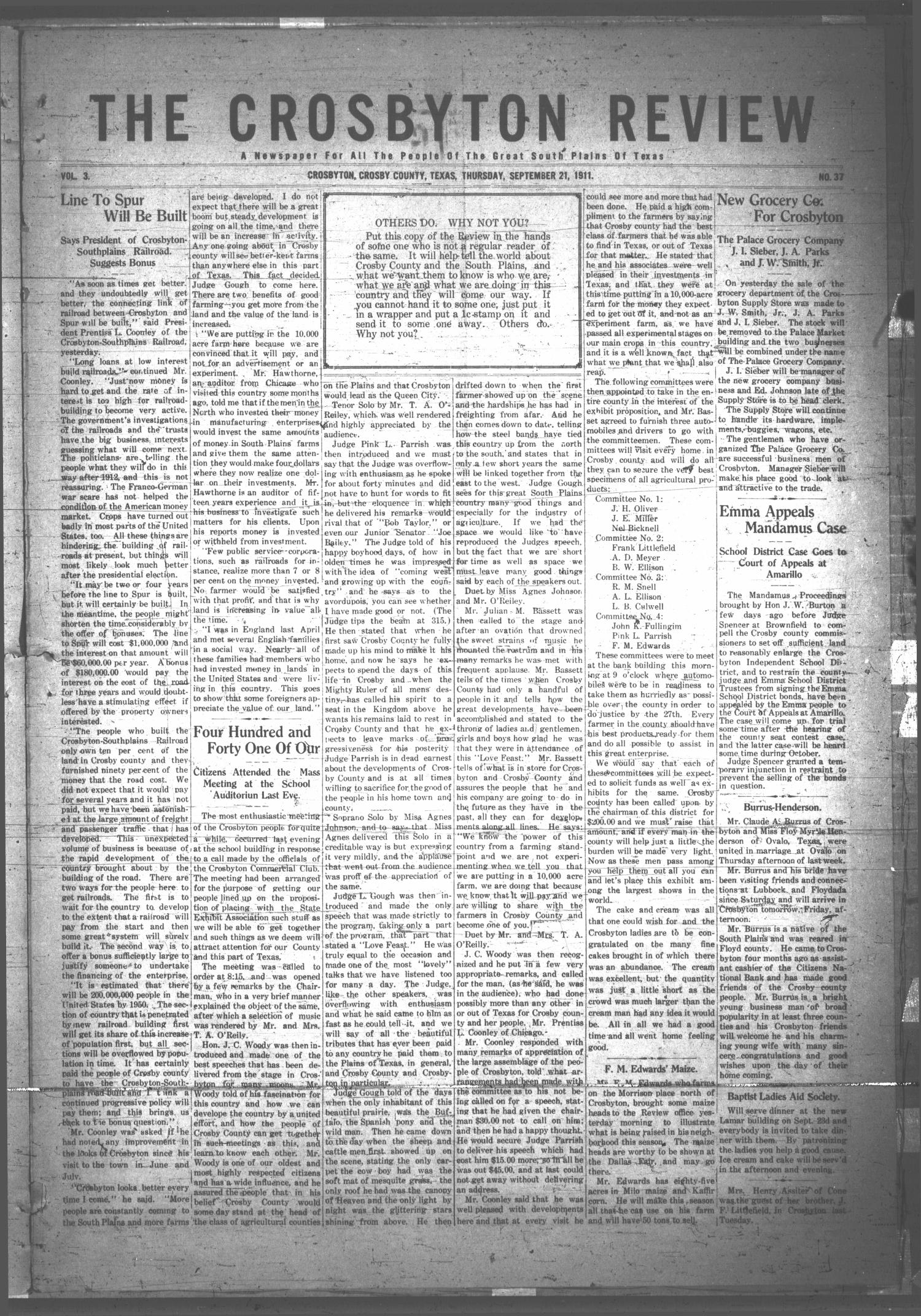 The Crosbyton Review. (Crosbyton, Tex.), Vol. 3, No. 37, Ed. 1 Thursday, September 21, 1911                                                                                                      [Sequence #]: 1 of 8