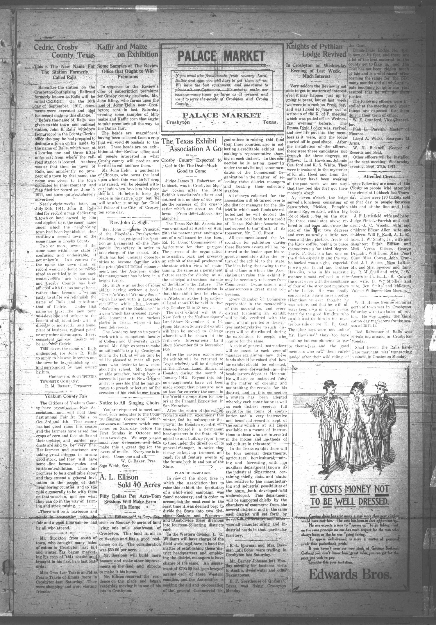 The Crosbyton Review. (Crosbyton, Tex.), Vol. 3, No. 37, Ed. 1 Thursday, September 21, 1911                                                                                                      [Sequence #]: 3 of 8