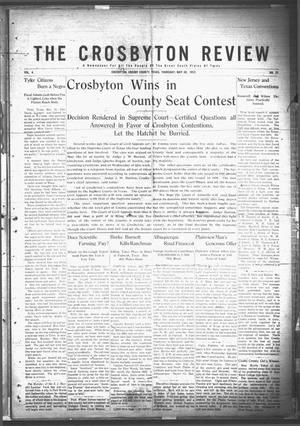 Primary view of object titled 'The Crosbyton Review. (Crosbyton, Tex.), Vol. 4, No. 21, Ed. 1 Thursday, May 30, 1912'.