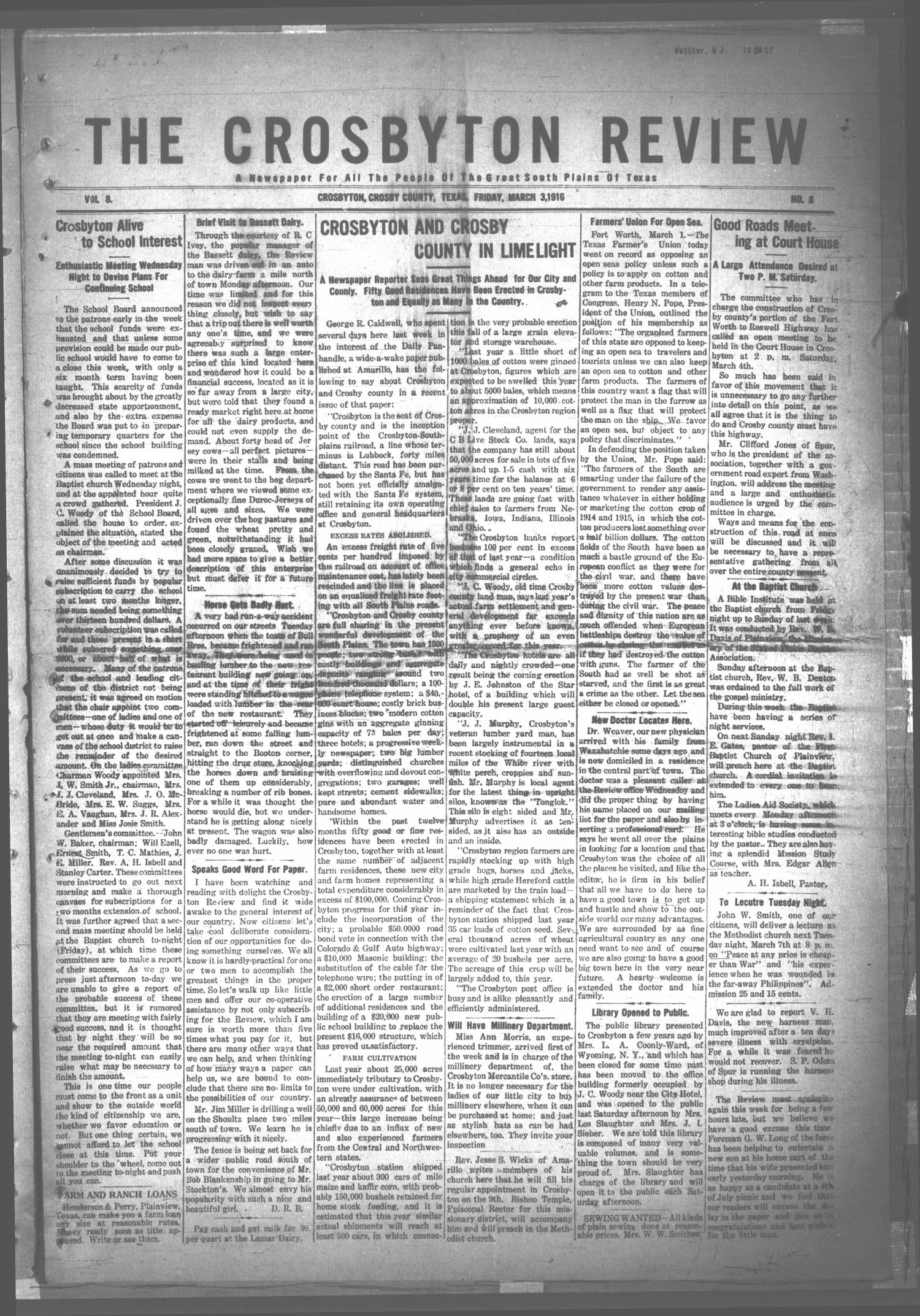 The Crosbyton Review. (Crosbyton, Tex.), Vol. 8, No. 8, Ed. 1 Friday, March 3, 1916                                                                                                      [Sequence #]: 1 of 8