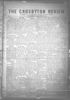 Primary view of object titled 'The Crosbyton Review. (Crosbyton, Tex.), Vol. 12, No. 14, Ed. 1 Friday, April 9, 1920'.